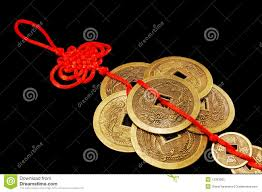 the symbol of feng shui six chinese coins stock photography