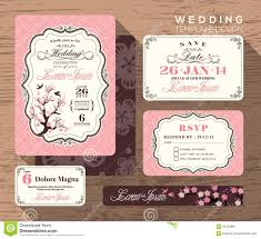 Wedding Invitation Card Design Template Vintage Wedding Invitation Set Design Template Stock Photo Image