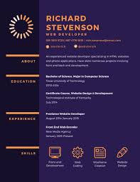 Web Design Resume Template Purple Web Developer Resume Templates By Canva
