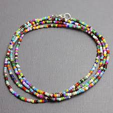 seed bead necklace clasp images Multi color seed bead necklace 11 0 beads single strand sterling jpg