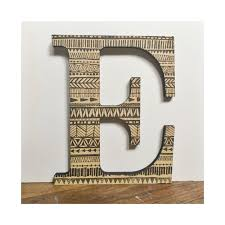 decorative wall letter e wood tribal geometric pattern print home