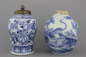 Japanese Dragon Vase A Blue And White Chinese Porcelain Dragon Vase And A Japanese Vase