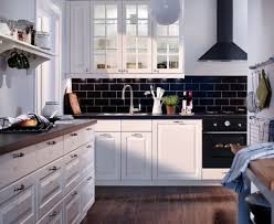 kitchen modern ikea units ideas black brick backsplash tile white