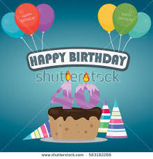 40th birthday cake decoration background flat stock vector