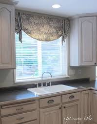 kitchen window valances ideas kitchen window treatments and a half of fabric was all it took for