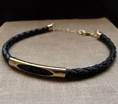 mens bracelet black leather images Leather braided men 39 s bracelet black gold bracelet for men jpg