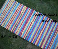Fabric Rug Handwoven Sunset Skies Thick Wool Fabric Rag Rug 67 X 28