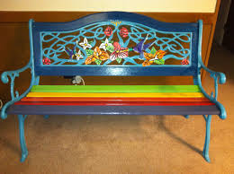 How To Refinish Wrought Iron Patio Furniture by Hand Painted Rainbow Cast Iron Bench I Refurbished For My Friend
