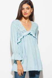 mint blouse shop mint blue embroidered ruffle tiered sleeve v neck empire