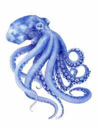 octopus decor blue octopus watercolor painting archival art print hamptons style