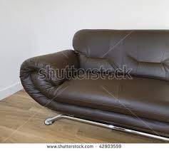 Modern Designer Leather Sofa Chrome Frame Stock Photo - Modern designer sofa