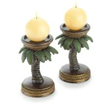 gifts decor 2 palm tree tropical home candleholder