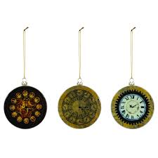 steampunk clock ornaments 3 assorted