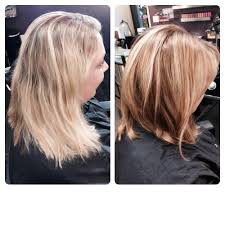 before and after lob haircut and bronde color hair by natalie