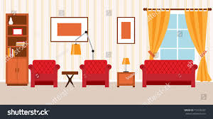 Next Armchairs Two Armchairs Sofa Next Bookcase Living Stock Vector 715105207
