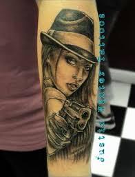 gangsta with gun tattoo on sleeve tattoo ideas in 2017