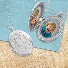 monogrammed locket silver locket necklace personalized with engraved script monogram