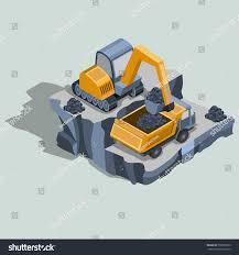 mining excavator loads coal dump truck stock vector 730959610