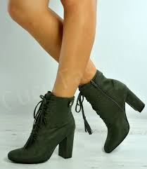 womens green boots uk womens block heel lace up ankle boots faux suede shoes