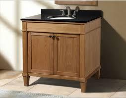 classic 36 inch weathered oak bathroom vanity with black granite top