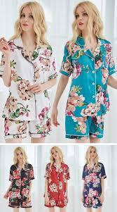 set of 8 satin floral bridesmaid pajamas pj sets bridal gifts