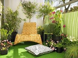 home decoration with plants decorating ideas for balcony with seating and fake grass and
