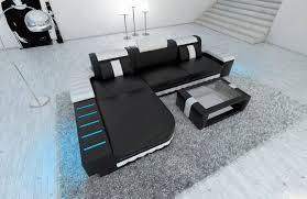 sofa l form modern sofa bellagio led l shaped black white ebay