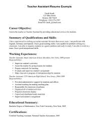 Example Career Objectives For Resume by Sample Career Objective Teacher Assistant Resume Sample Include