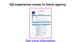 sle resume for ojt tourism students ojt experience essay in travel agency google docs