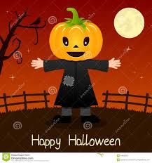 halloween scene clipart pumpkin head happy halloween card stock vector image 44645387