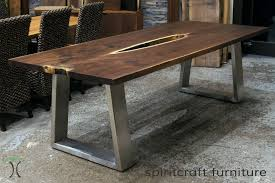 wood table with metal legs live edge table legs live edge and slab dining and conference tables