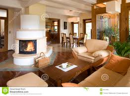 stylish modern living room with fireplace stock photography