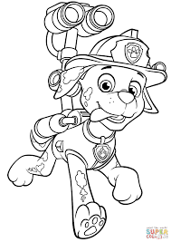 paw patrol marshall with fire truck coloring page coloring page