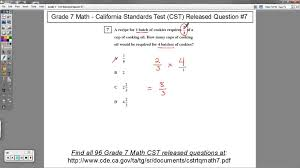 math problem fractions grade 7 math cst released question 7 word problems with