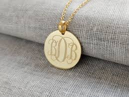 Monogram Disc Necklace 3 Initials Monogram Necklace Gold Small Initial Monogram Disc