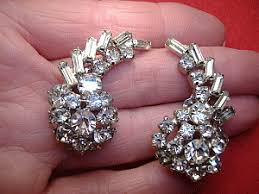 clip on earrings s vintage costume earrings signed weiss white rhinestone juliana