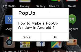 how to make a popup window in android uandblog - Android Popup