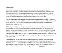 sample thank you note after interview 7 documents in pdf word
