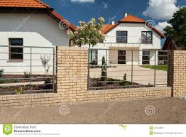 beautiful house with modern fence stock photo image 43243487