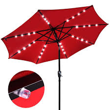 Solar Patio Umbrella Lights by 9 Foot Patio Led Solar Light Umbrella Red The Diy Outlet