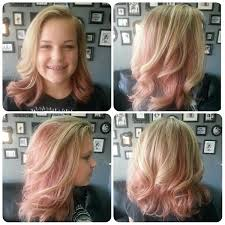 highlights with block pastel pink hair color