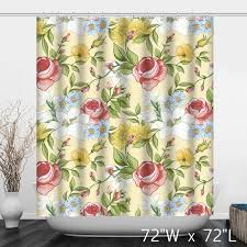 Shower Curtain Custom Hand Painted Rose Floral Polyester Shower Curtain Custom Shower