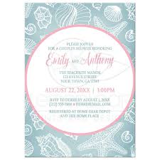 couples shower shower invitations blue seashell pink