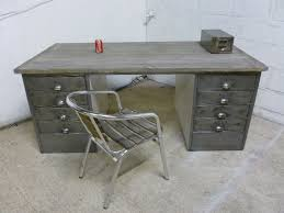 Metal Office Desks Vintage Industrial Polished Steel Wood Metal Office Desk Retro For