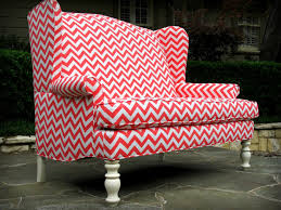 Diy Slipcovers For Sofas by Coral And White Chevron Upholstered High Back Wingback Settee