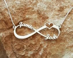 Infinity Necklace With Name Personalized Family Name Signs Etsy