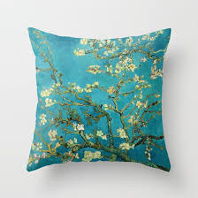 vincent gogh blossoming almond tree throw pillow by artgallery