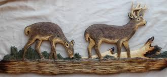 Cabin Decor Log Cabin Decor Hand Carved Wall Art Carvings Of Bear Raccoon