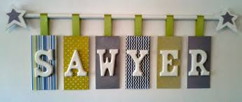 Letter Decorations For Nursery Custom Hanging Wooden Letters With Rod Personalized Name Nursery