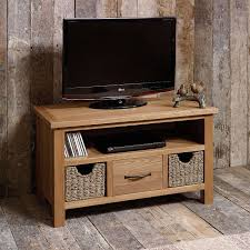 Wooden Tv Stands And Furniture Sidmouth Oak Tv Stand With Baskets Small Tv Unit Tv Units And